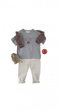 蘑菇 純棉柔軟T恤(灰藍色)