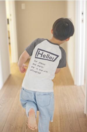 Hello 我們的星球T恤(灰白拼色)