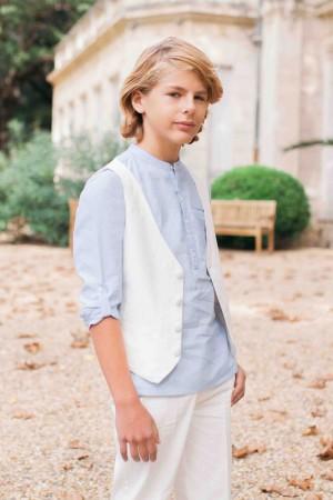 亨利領水藍襯衫