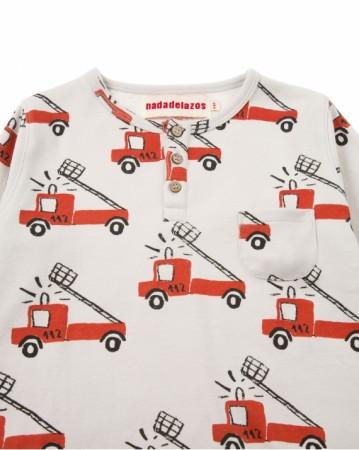 歐盟認證有機棉消防車車長袖T恤
