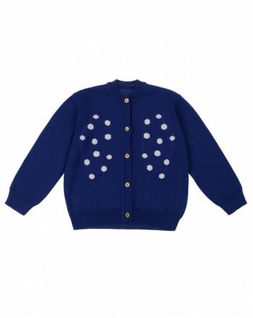 西班牙 深藍雪花點點針織衫外套