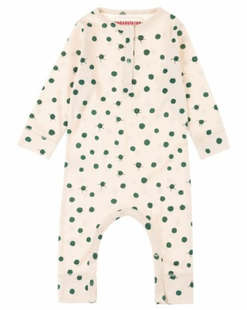 歐盟認證有機棉 綠豆點點連身衣