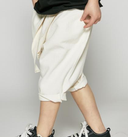 白色綁帶透氣牛仔褲
