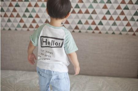 Hello 我們的星球T恤(綠白拼色)