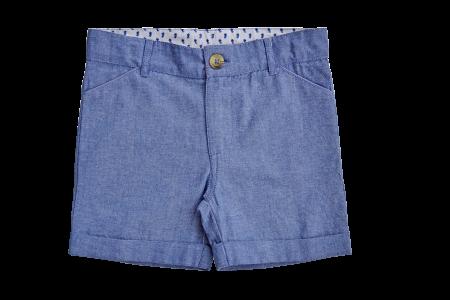 藍色西裝短褲
