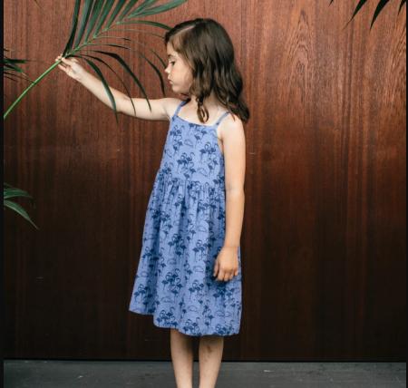 法拉夜藍色吊帶連身裙