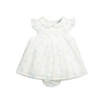 春漾花草小圓領白色連衣裙