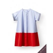 國際品牌設計師-藍紅撞色洋裝