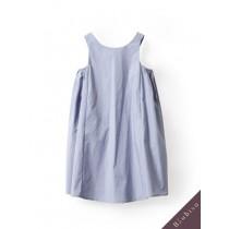 國際品牌設計師-淡藍色無袖背心裙