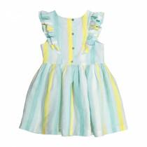 綠黃直寬條紋荷葉亞麻連衣裙