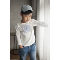 立體可愛大象純棉 T恤(白色)