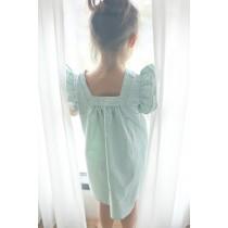 立體荷葉袖粉綠色洋裝